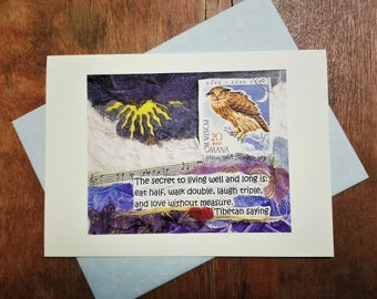 Love Birthday Friendship Greeting Card. Tibetan Saying Quote. Owl Art Card. Spiritual/Encouragement/Health/Support/Mindfulness Collage Card