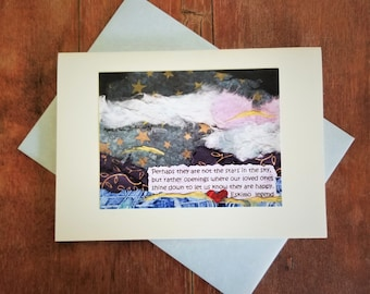 Best Sympathy Card. Condolence Bereavement Card. Eskimo Proverb. Star Collage Art. Pet Loss Card. Recycled Paper. Eco-Friendly. Gift Card.