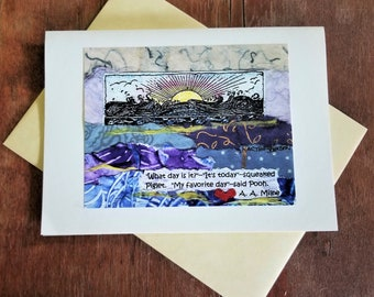 All Occasion Card. AA Milne/Winnie the Pooh Quote. Birthday/Graduation/Friendship/Anniversary Card. Ocean Beach Art. Gratitude Inspiration