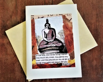 Buddha Quote Greeting Card. Spiritual Friendship Card. Retirement Divorce Loss Card. Mindfulness Inspirational Quote Card. Grace Quote Card