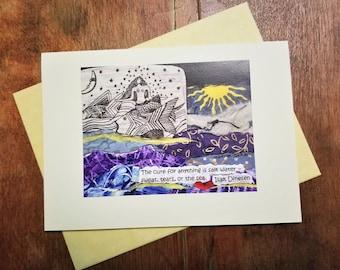 Greeting card.  Friendship/Get Well/Mermaid/Illness/Grief/Ocean Lover Card.  Mermaid Collage Art Gift. Surfer/Sailor/Coastal Art