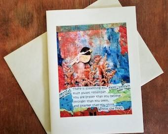 Friendship  Birthday Graduation Card. Winnie the Pooh Quote. Motivational Inspirational Best Friend. Positive Support Card. Bird Collage Art