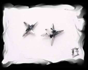 Small 925 sterling silver earrings with studs, spikes, with posts | #520