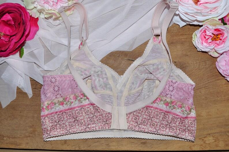 Sheer bralette Soft bra Mesh bralette Bra \\no bones bra Sheer lingerie Soft cup bra Pink bralette Floral bralette Boho style bralette