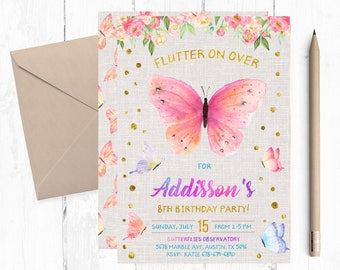 Butterfly Invitations Invitation Birthday Party Invites Invite Garden