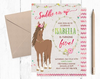 Horse Invitations For Girls Invitation Invite Invites Birthday Party Theme
