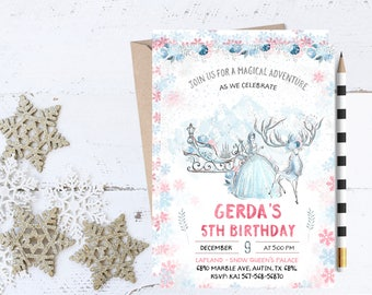 Snow Queen Invitations, Snow Queen Invitation, Snow Queen Birthday Party Invitations, Kai and Gerda, Snow Queen Invites, Snow Queen Invite,