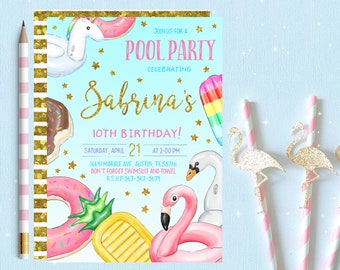 unicorn pool party invitations unicorn pool party invitation etsy