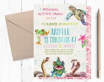 Creepy Crawly Invitation, Reptile girl Invitation, Reptile Girl Invitations, Reptile Birthday Party Invites, Reptile Birthday Party Invite,
