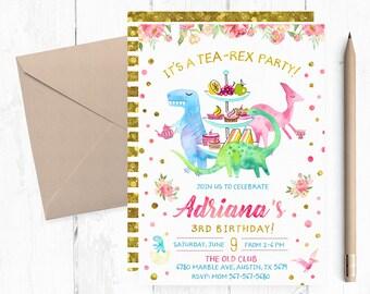 Tea Rex Birthday Invitation, Tea Rex Invitations, Tea Rex Birthday Party Invites, Tea Rex Invite, Tea Rex Invites, Dinosaur Tea Party,