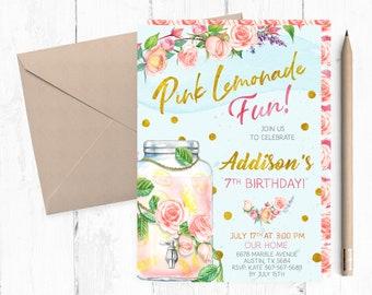 pink lemonade birthday party invitations pink lemonade invitation pink lemonade invites pink lemonade invite lemonade invitations