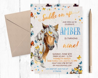 Horse Birthday Invitations Party Invitation Invite
