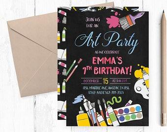 Painting  Birthday Invitations, Painting  Birthday Invitation, Painting Invitations, Painting Invitation, Art Party Birthday Invitation,