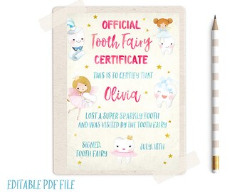 Tooth fairy letter etsy editable tooth fairy record tooth fairy certificate tooth fairy receipt tooth fairy letter tooth fairy report lost tooth tooth fairy spiritdancerdesigns Image collections