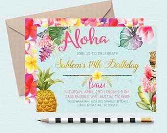 Hawaiian Invitations,  Pineapple Invitation, Luau Birthday Invitation, Luau Invitations, Luau Birthday Invites, Summer Birthday Invitations,