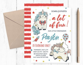 4th Of July Birthday Invitation Party Invitations Invites Invite
