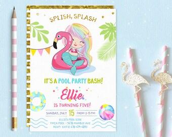 Glitter Mermaids Pool Party Invitation Mermaids Pool Birthday Etsy