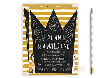 Wild One Birthday Invitation, Wild One Birthday, Wild One Birthday Boy, Where the Wild things are Invitations,  wild things birthday,  party