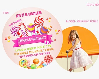 Lollipop invitation, Lollipop Birthday Invitations, Candyland Invitation, Candy land Invitations, Sweet Shop invites,  lollipop invite,