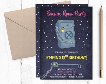 Escape Room Invitation Invitations Party Invites Invite