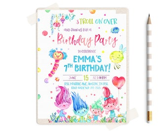 Trolls Birthday Invitation, Trolls Birthday Party, Trolls Invitation, Trolls Birthday Invite, Trolls Party, Trolls theme, Trolls Invitations