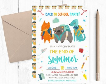 Back to school Party Invites, Back to school Party Invitation, Back to school Party Invite, Back to School Party Invitations, Pool Party,