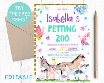 Editable Petting Zoo Invitation Template Farm Animals Invitations Instant Download Invites