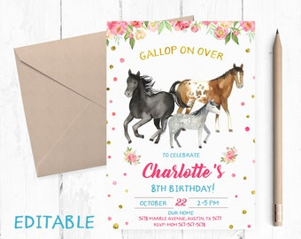 EDITABLE Horse Birthday Invitation EDIT Yourself Party Invitations Editable Invites Invite