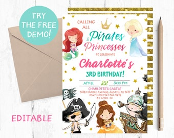 Set of 12 Pirate and Princess Favor Tags Princess and Pirate Party Tags Princess and Pirate Favor Tags Pirate and Princess Birthday
