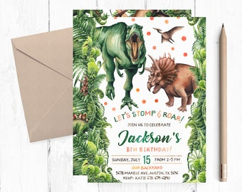 T Rex And Triceratops Invitation Dinosaurs Invitations Invites Boy Birthday Party