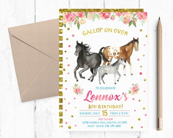 Horse Birthday Party Invites Invitation Invite Invitations Printable