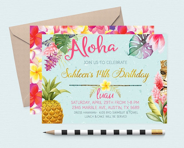 Hawaiian invitations pineapple invitation luau birthday etsy image 0 filmwisefo