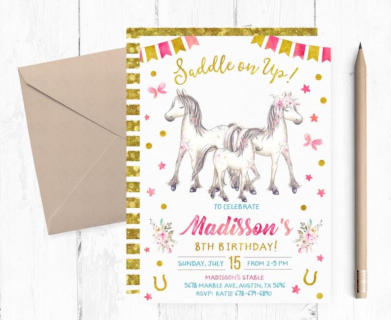 Horses Birthday Party Invitations Invites Horse Invite Invitation Printable Digital