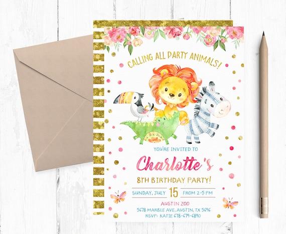 Zoo Birthday Party Invitation Zoo Party Invitations Zoo Etsy