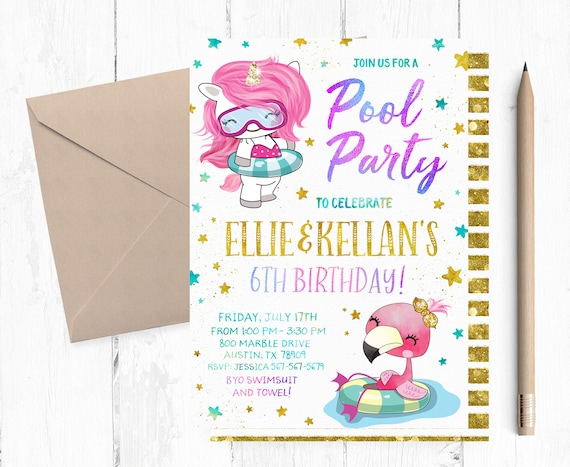 Pool Party Invitation Birthday