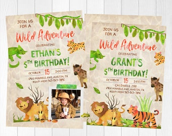Safari Birthday Invitation, Zoo Birthday, Zoo Invitation, Jungle Birthday Invitation, Wild Adventure Invitations, Zoo themed invites,