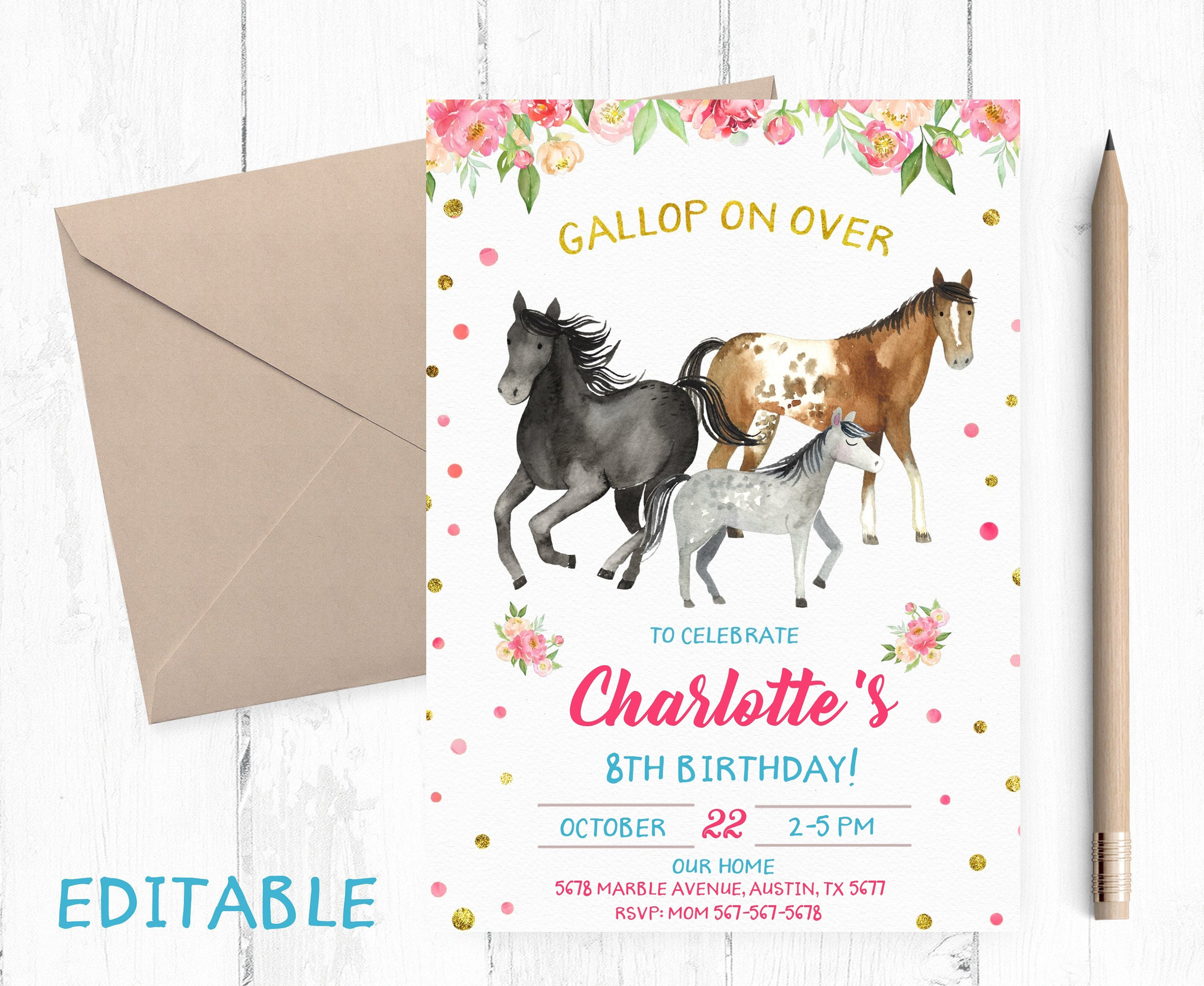 EDITABLE Horse Birthday Invitation EDIT Yourself Party