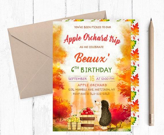 Apple Picking Invitation Birthday Invitations