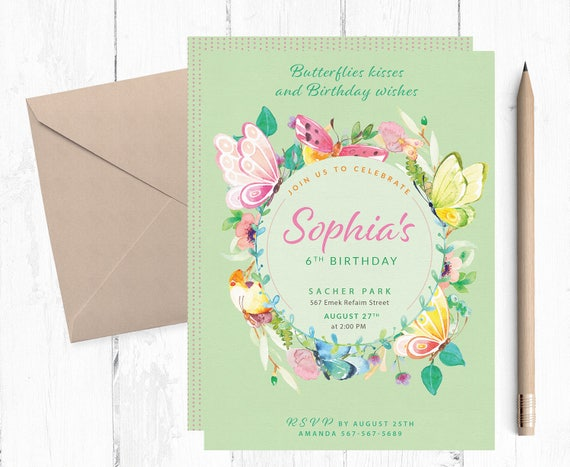 Butterfly Birthday Invitations Invites