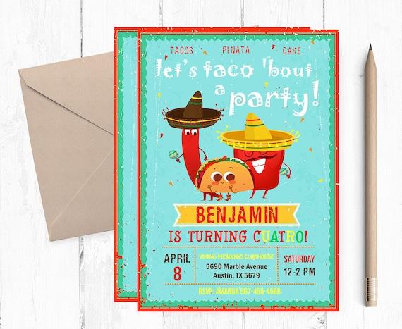 taco birthday invitation taco invitations fiesta etsy