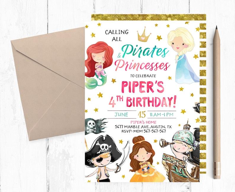 Princess And Pirate Invitation Birthday Party Invites Printable Invite Princesses Pirates
