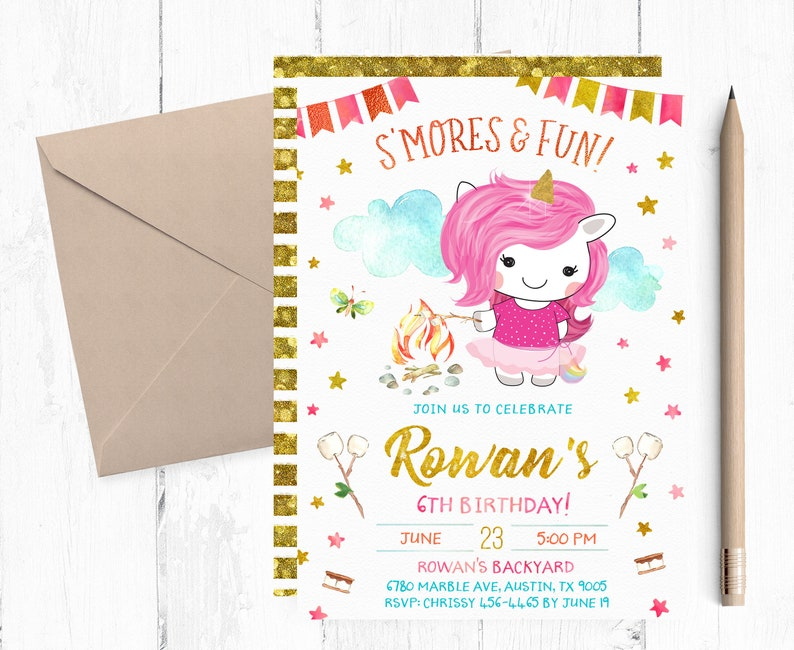 S Mores And Fun S Mores Birthday Party Invitations Etsy
