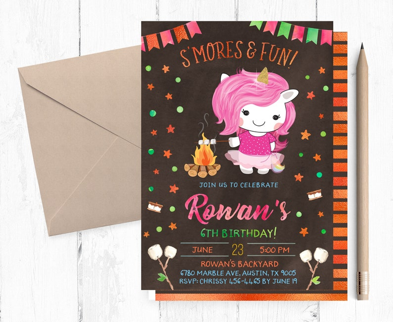 Smores Birthday Invitation Unicorn Invitations Smore
