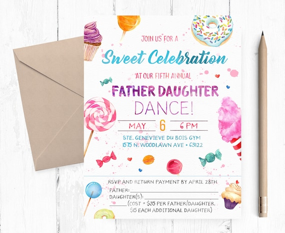 Father Daughter Dance Candyland Invitation Father Daughter Etsy