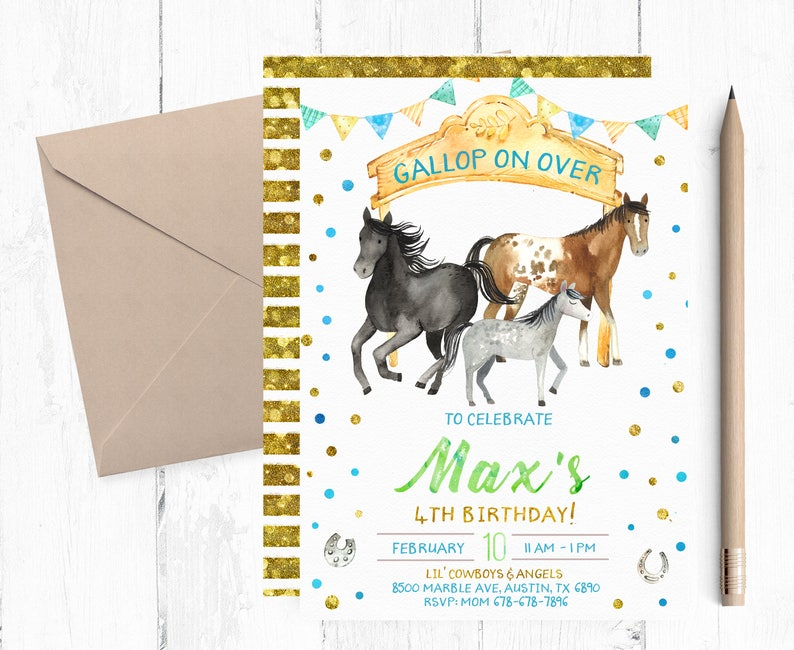 Horse Birthday Invitation For Boy Invitations