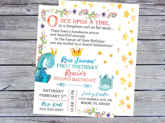 First Birthday Invitations Twins
