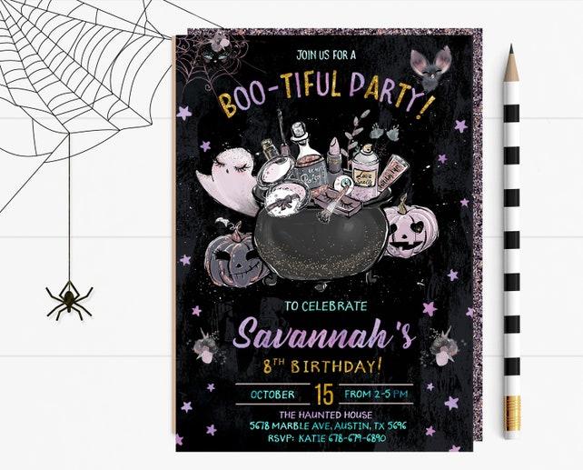 Halloween Boo-tiful Party Invitation, Boo-tiful Halloween Invitations, Halloween Face Painting Invitation, Halloween Makeover Invite, Makeup
