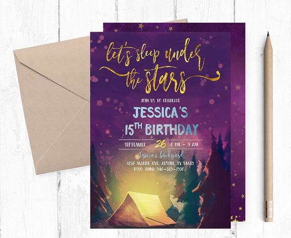 under the stars invitation sleepover invitation sleepover etsy