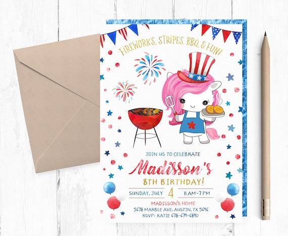 4th Of July BBQ Birthday Invitation