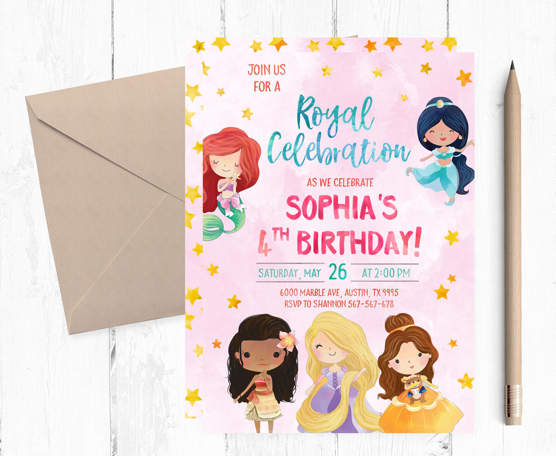 Princess Birthday Invitation Princess Invitation Royal Etsy